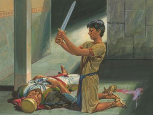 The assassin murders Laban in the courtyard